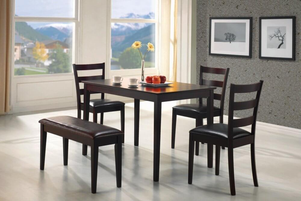 Beautiful small dining table and chairs perfect for an apartment or small dining room, this five piece bench dining qhzkhfy
