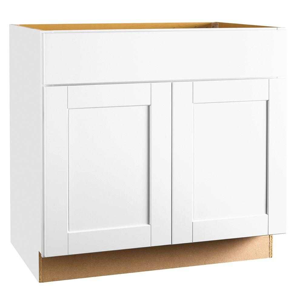 Best assembled kitchen cabinets shaker assembled 36x34.5x24 in. sink base kitchen cabinet in satin white uzslcfe