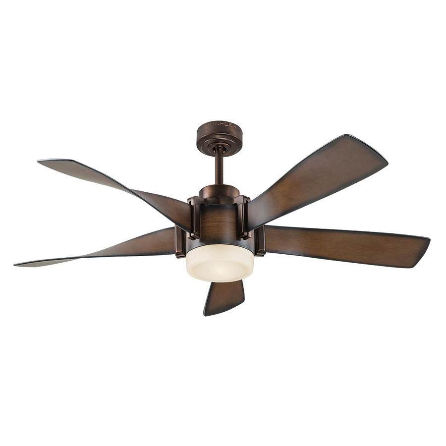 Best ceiling fans with lights and remote control kichler 52-in mediterranean walnut with bronze accents integrated led  indoor downrod mount iavytbk