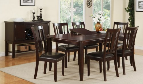 Best dining table and 6 chairs f2179+f1285 abella deep brown finish dining table + 6 chairs vjsgawv