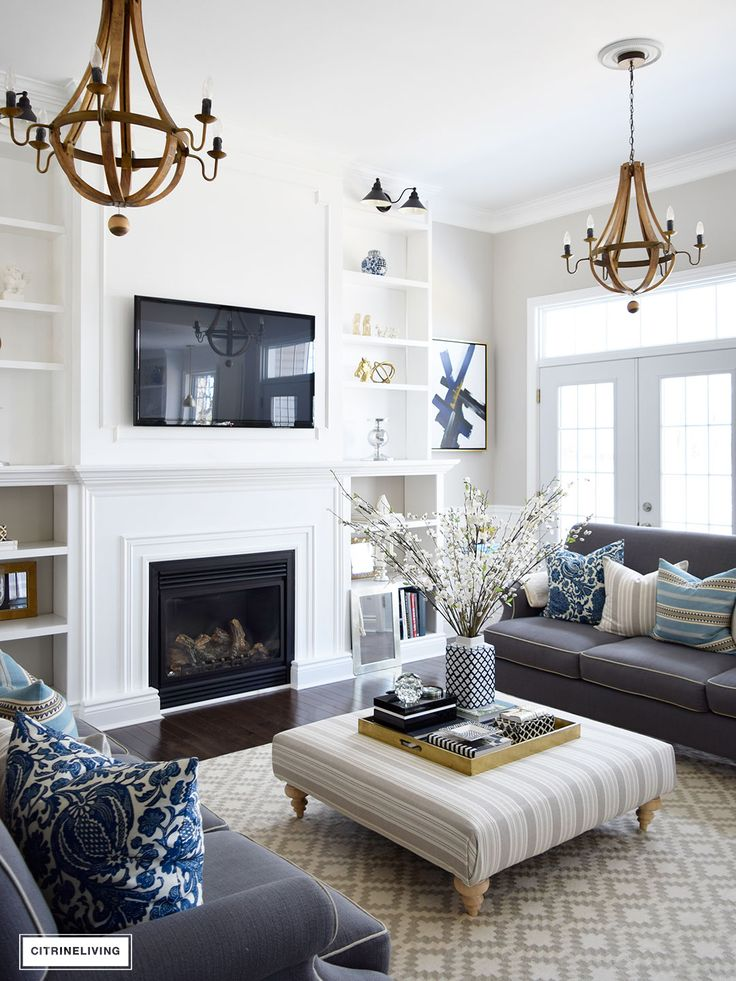 Best family room decorating ideas bring freshness to our home this spring with layers of beautiful blues, uyzxizp