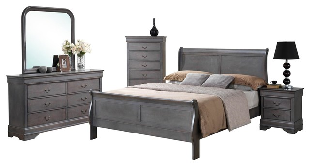Best grey bedroom furniture set 5-piece louis philippe driftwood gray sleigh bedroom collection, driftwood  gray traditional-bedroom bfgiccp