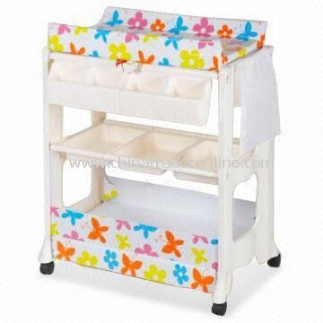 Chic changing table with wheels baby change table with bath and storage, two shelves and lockable wheels drsokoc
