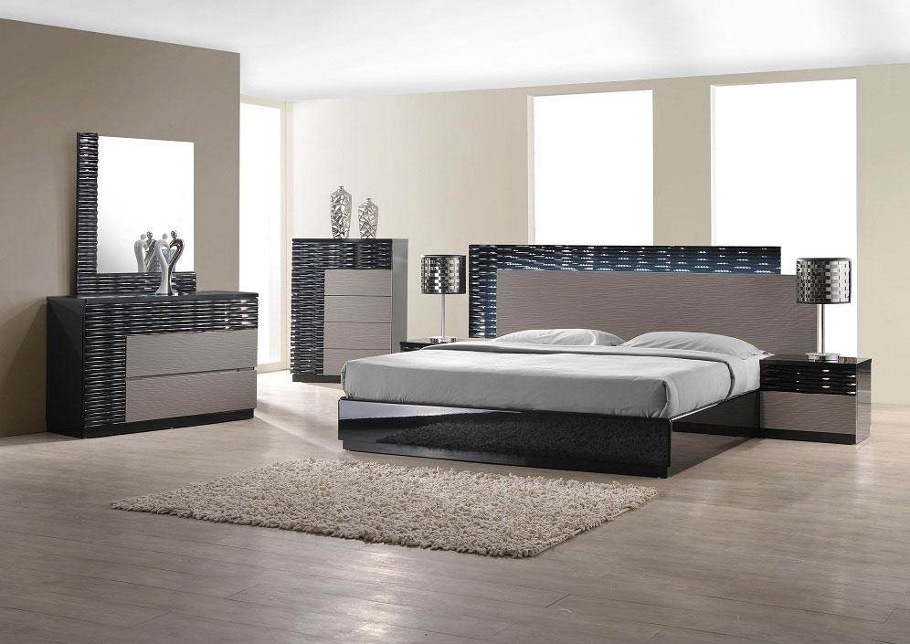 Chic designer bedroom furniture modern bedroom set with led lighting system cgrhzie