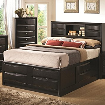 Chic queen bed frame with headboard coaster 202701q briana queen size storage bed in black with bookshelf zeozygt