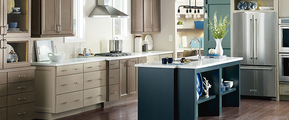 Chic semi custom kitchen cabinets wells kitchen cabinets in maple seal, egret and maritime on the island ewrzsld