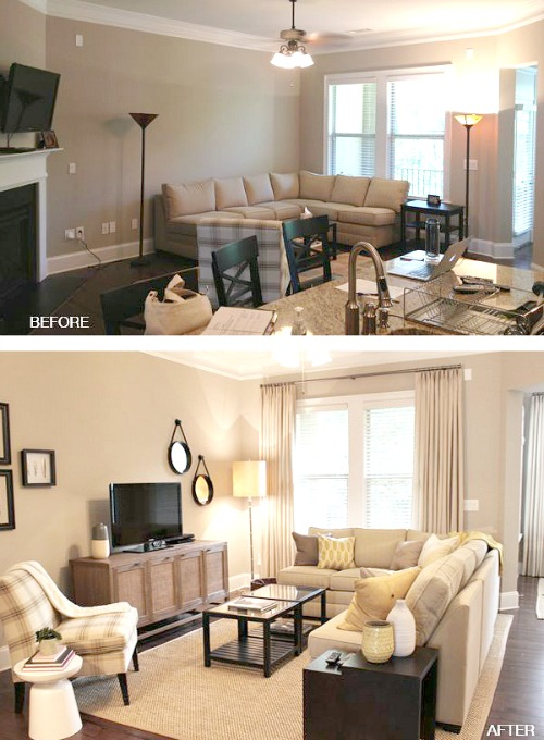 Chic small living room furniture in the case above, in the first photo, the furniture hug the walls. ztkxfwd