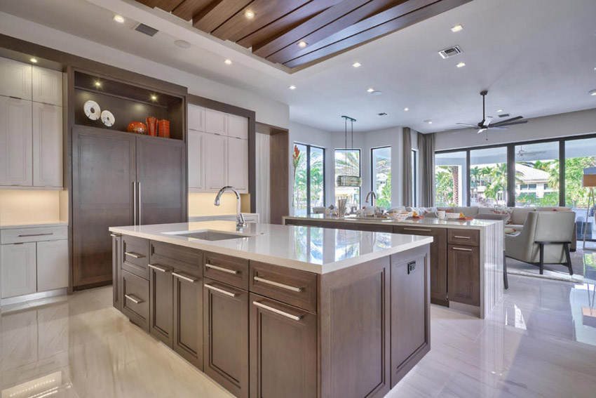 Collection contemporary kitchen cabinets contemporary kitchen with limestone and rich wood cabinetry rknvany
