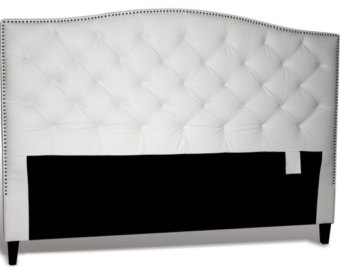 Collection king size tufted headboard king size white genuine leather, diamond tufted headboard with pewter nail  heads rvadbia