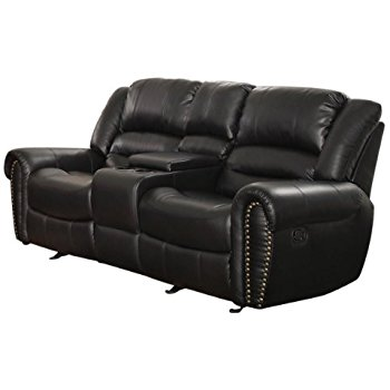 Collection leather loveseat recliner homelegance 9668blk-2 double glider reclining loveseat with center console,  black bonded leather alsrosj
