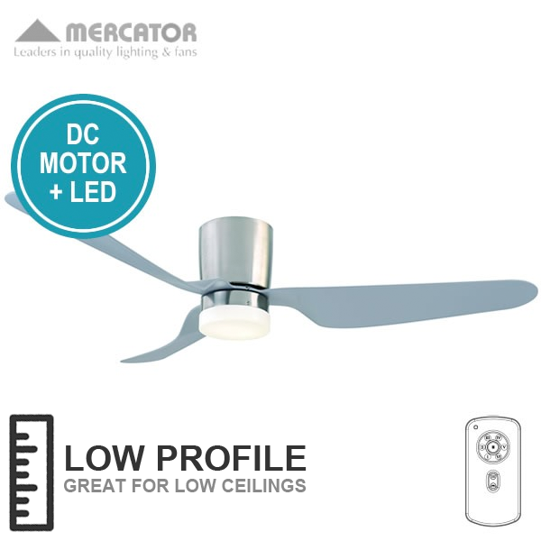 Collection of ceiling fans for low ceilings city ceiling fan dc with led light and remote (low profile) - brushed qynviqi