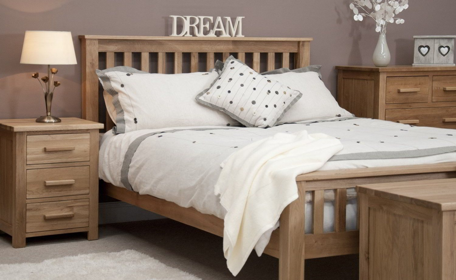 Collection solid oak bedroom furniture bedroom with grey walls and solid oak furniture also white bedding xohgnwf