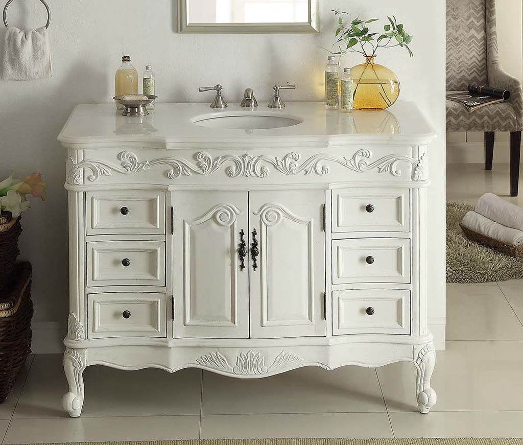 Collection traditional bathroom vanities ... bathroom vanity adelina 42 inch traditional style antique white white  vanity zbclsjp