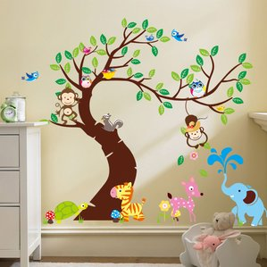 Collection wall decals for kids curved tree with forest friends and monkeys wall decal nfqeota