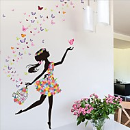Collection wall stickers for living room flower faerie dance girl wall stickers living room bedroom backdrop  romantic glass jrdixyf