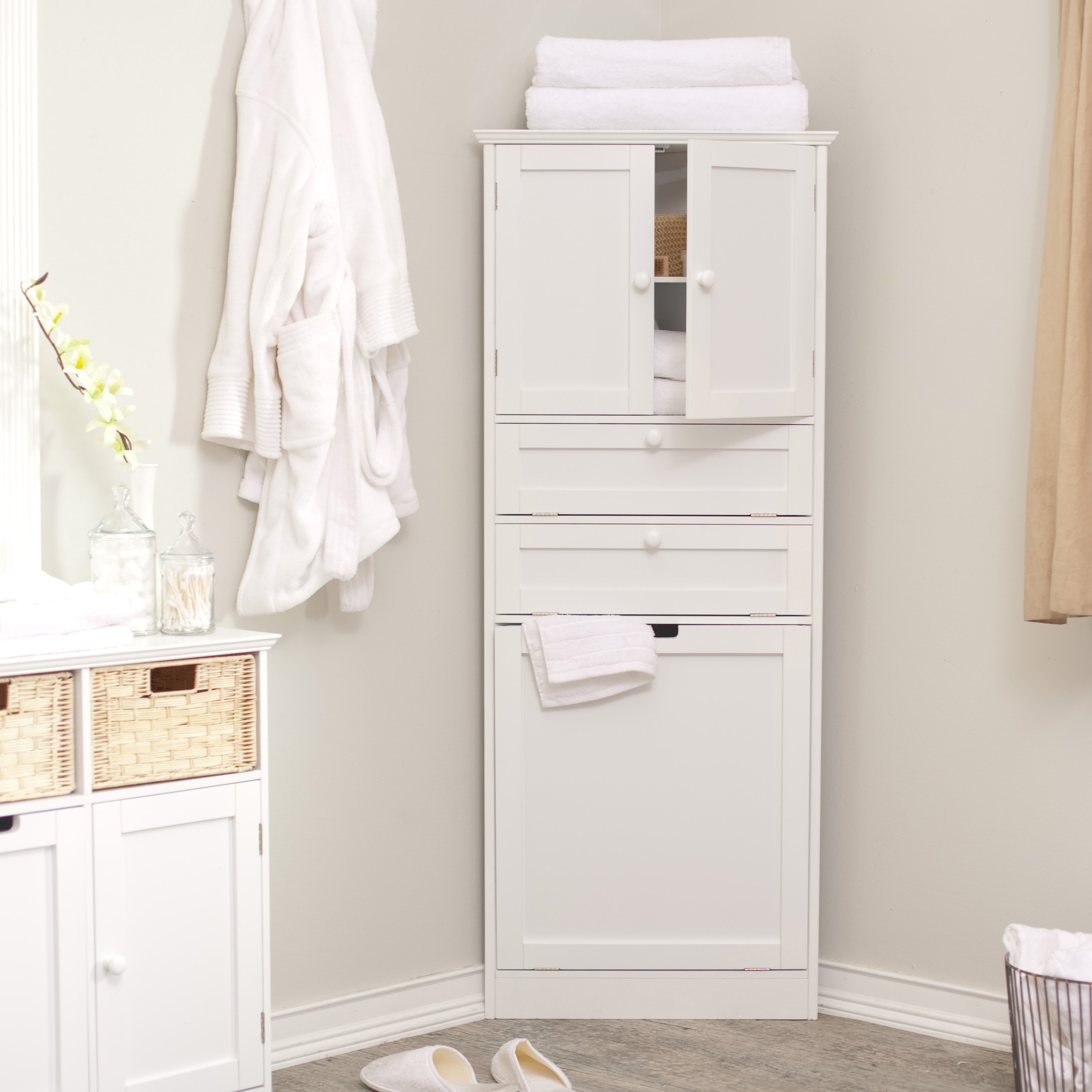 How to use bathroom storage cabinet with drawers