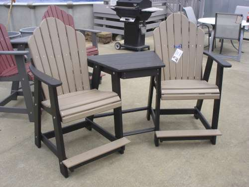 Compact composite adirondack chairs balcony settee w/ table potgtcd