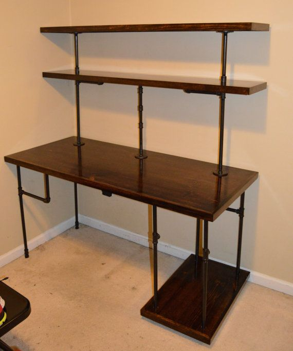 Compact computer desk with shelves raw reclaimed computer desk w/ 2 shelves by urbanwoodfurnishings | rustic  industrial ugwnxkh