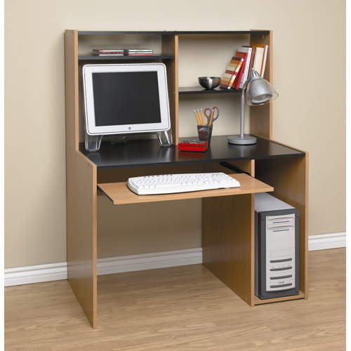 Compact orion computer desk with hutch, black and oak rfwtygu