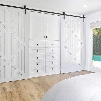 Compact sliding closet doors for bedrooms bedroom closet with two light gray barn doors on rails flanking built in ubolfki