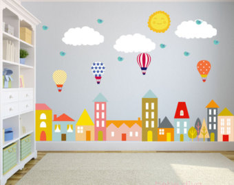 Compact wall decals for kids city wall decals, nursery wall decal, wall decals nursery, baby wall decal, wdejonh
