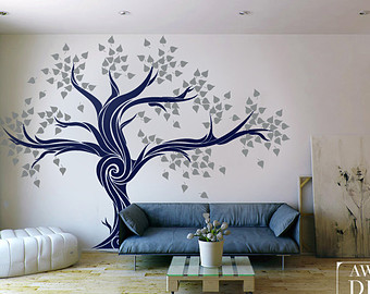 Compact wall stickers for living room large wall decals - living room decal - custom wall decals - tree emwhbdn