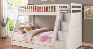 Compact white bunk beds with stairs image of: white bunk bed with stairs and drawers caotbex