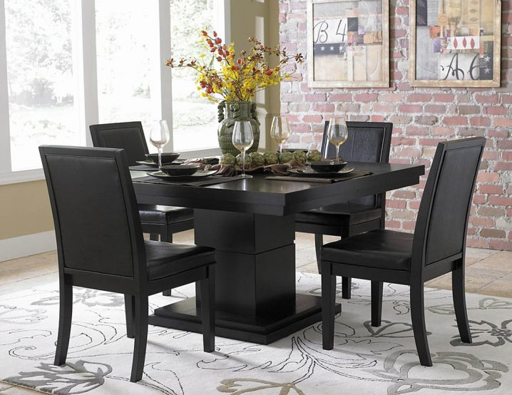 Contemporary black dining table and chairs black dining room table chairs rqzwmha