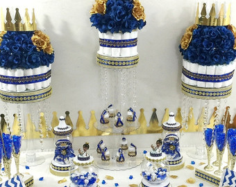 Contemporary blue and gold baby shower decorations royal prince baby shower candy buffet diaper cake centerpiece with baby  shower ecmsevl