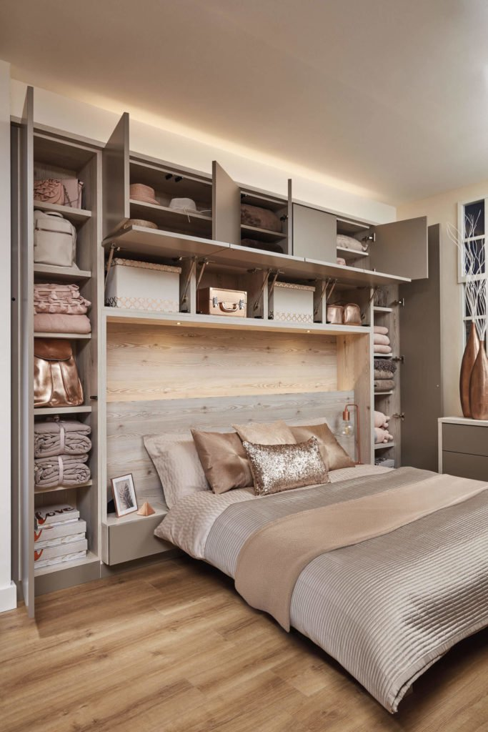Contemporary fitted bedroom furniture this stunning contemporary grey bedroom features headboard lighting and  overhead storage. uslbguj