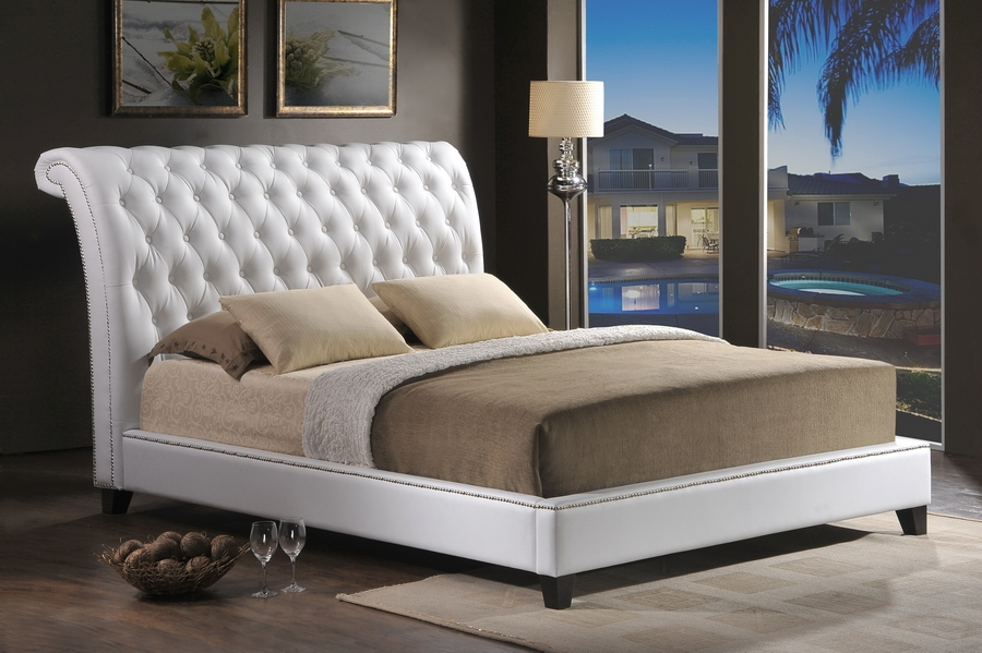 Contemporary king size upholstered headboard ... baxton studio jazmin tufted white modern bed with upholstered headboard  king hqvosuq