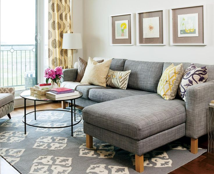 Contemporary small living room furniture apartment tour: colourful rental makeover. condo living roomgray ... bqrvgzc