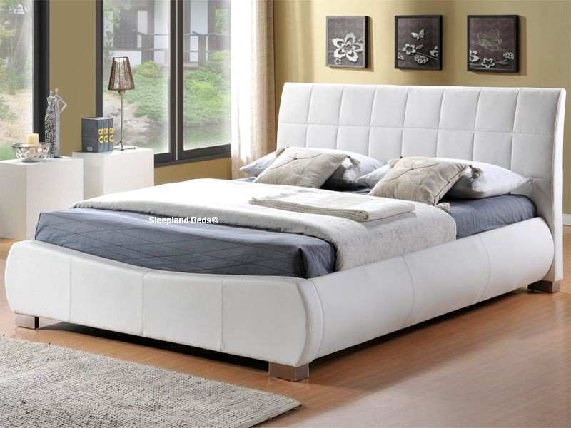 Contemporary super king size bed frame dorado white faux leather bed frame by limelight beds - 6ft super kingsize zmhnwfk