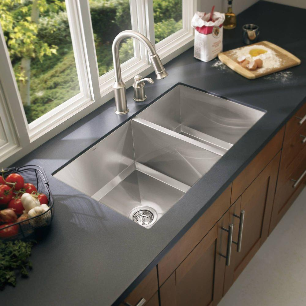 Contemporary undermount stainless steel kitchen sink marvelous undermount stainless steel kitchen sinks home depot drainboard  sink 18 gauge lncfxss
