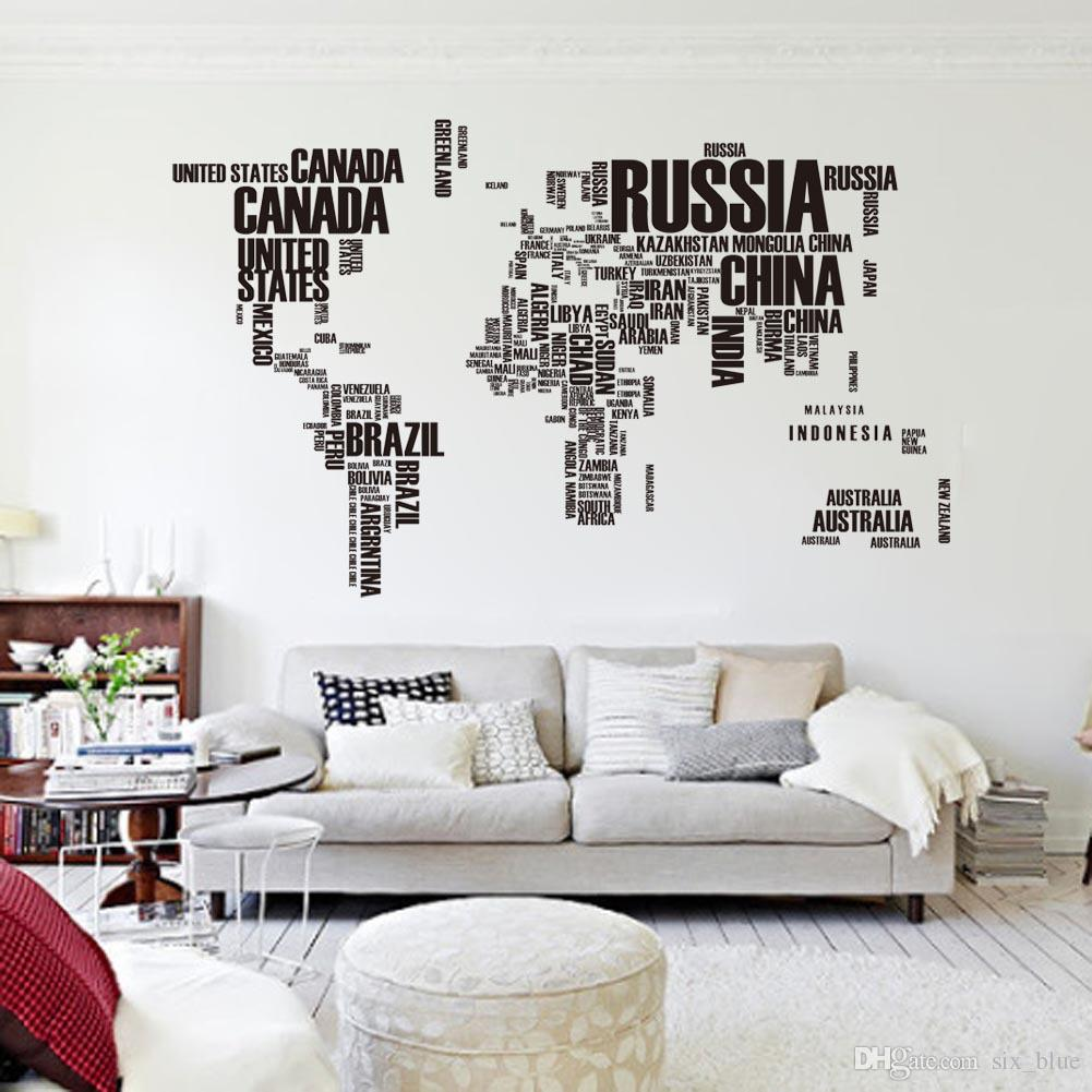 Contemporary wall stickers for living room pvc poster letter world map quote removable vinyl art decals mural living hsjbfvn