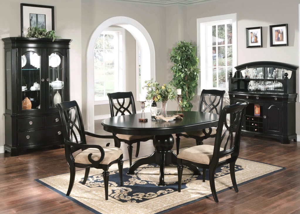 Cool black dining room furniture bayle black formal dining room furniture set oval table kptecdy