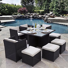Cool black rattan garden furniture rattan garden furniture cube set chairs table outdoor patio rattan black / xmkhvux