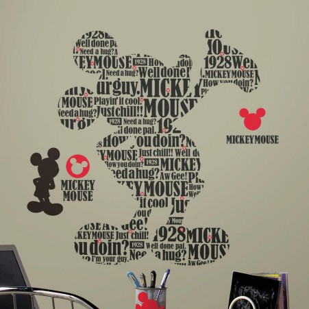 Cool mickey mouse wall stickers typographic mickey mouse giant wall decals poswtlm