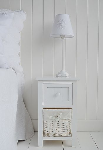 Cozy bar harbor small white bedside table 25cm wide from the white lighthouse shewqim