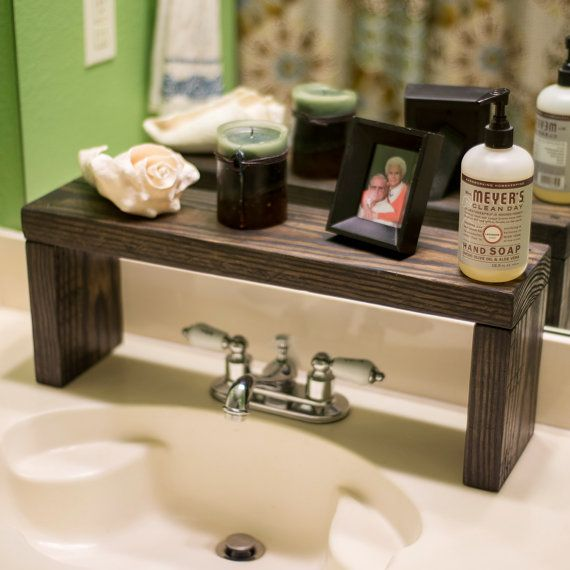 Cozy bathroom countertop storage primitive country over the sink shelf, rustic contemporary, dark stained,  reclaimed wood,. onheyav