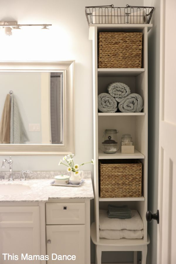 Cozy bathroom storage furniture white bathroom vanty, tall cabinet, cottage style | this mamas dance qmjznzc