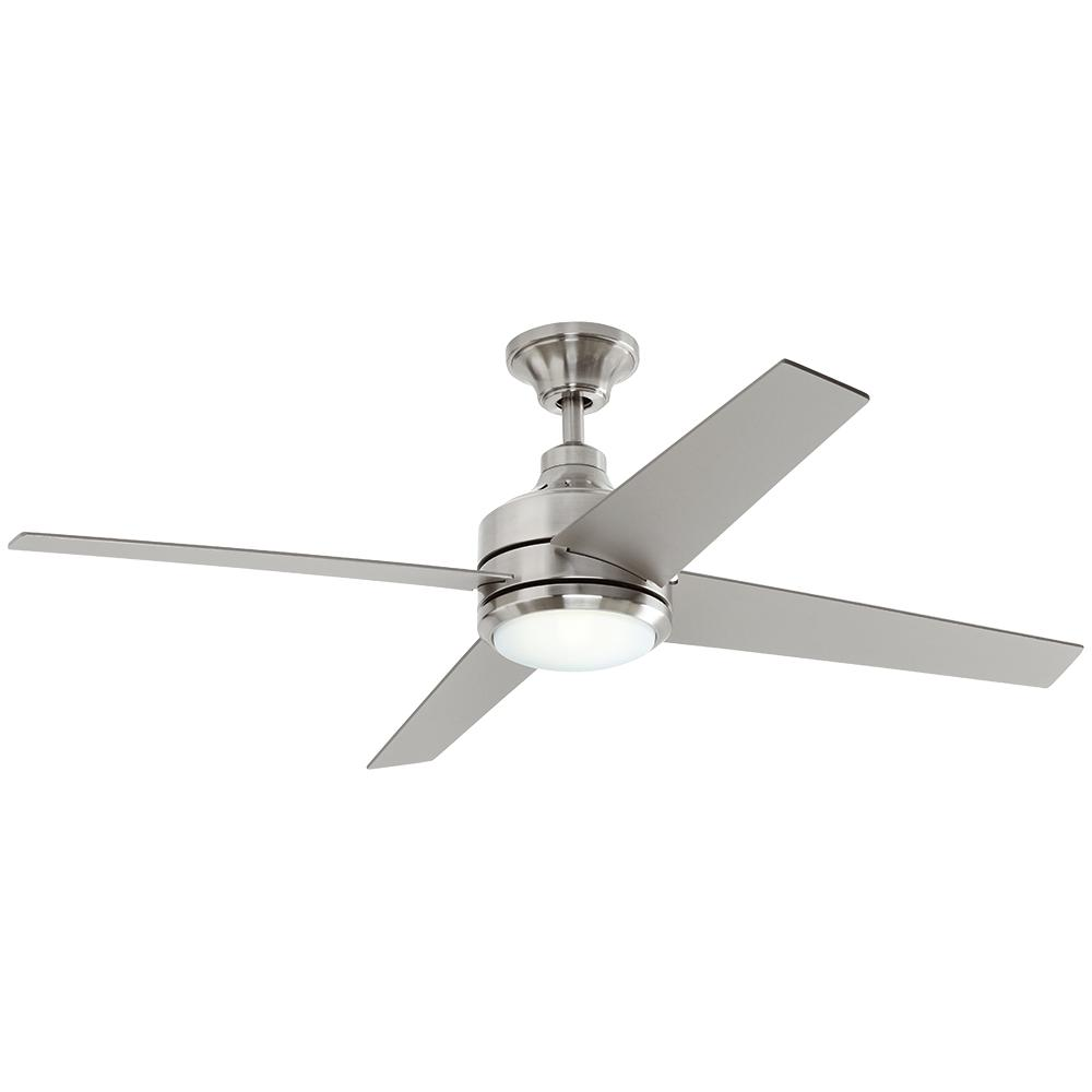 Cozy ceiling fans with lights and remote control home decorators collection mercer 52 in. led indoor brushed nickel ceiling  fan uxeioll