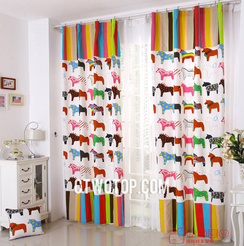 Cozy childrens blackout curtains elite horse printed sale lines white kids curtains funahdf
