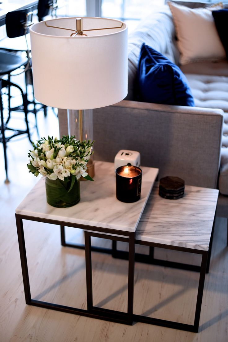 Cozy end tables for living room i like the marble end tables (west elm i think) with the grey ghuocsc