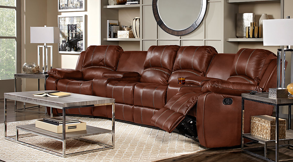 Cozy leather living room furniture fenway heights brown 5 pc leather sectional vhbekyr