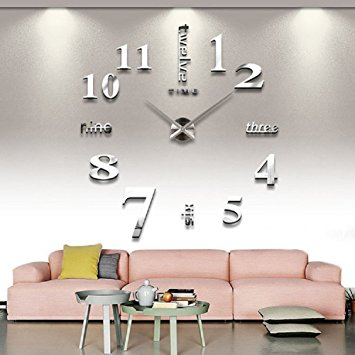 Cozy wall clocks for living room cozroom large silver 3d frameless wall clock stickers diy wall decoration  for knyvcum