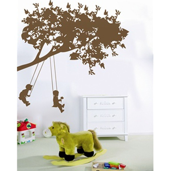 Cozy wall decals for kids kids on swings - wall decal qahgozt