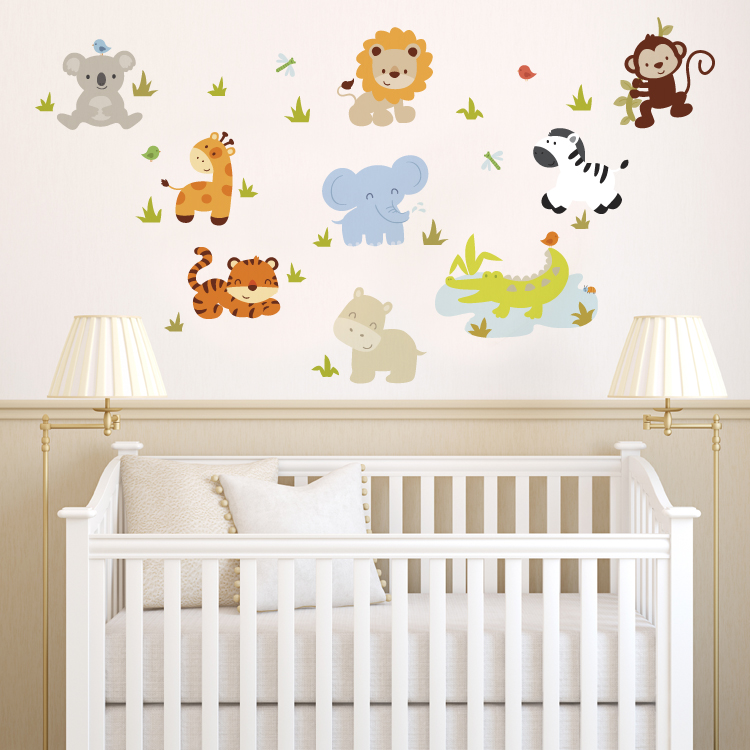 Cozy wall stickers for nursery baby zoo animals - printed wall decals vxjcgmh