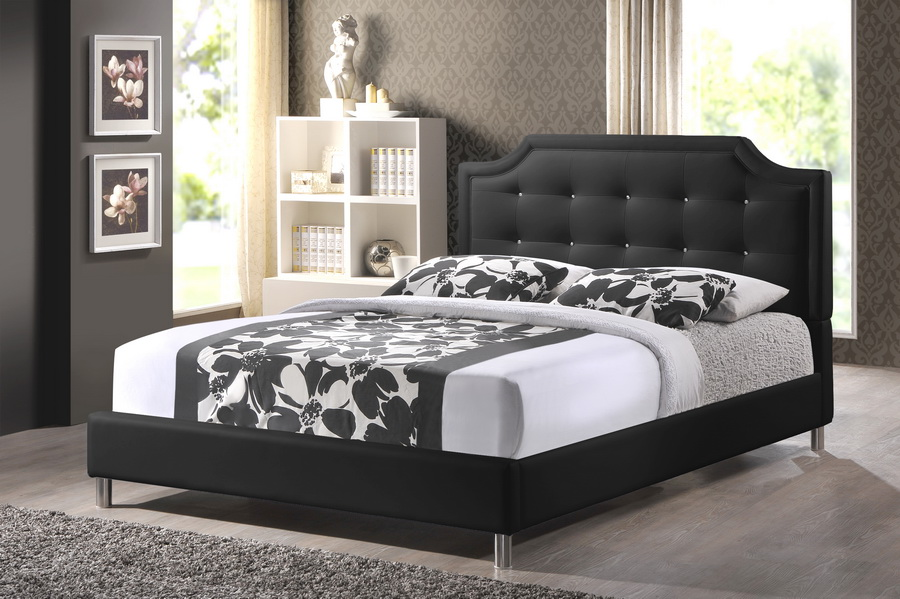 Cute black king size bed frame ... baxton studio carlotta black modern bed with upholstered headboard - king vuyuwpp