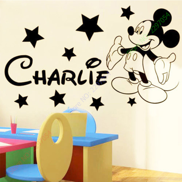 Cute mickey mouse wall stickers for kids rooms custom name removable vinyl wall ffyihrc
